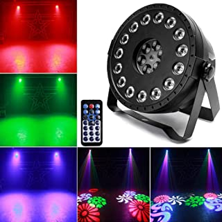 Stage Par Lights U`King RGB 15 LED Pattern Lights 2 in 1 Strobe Party Light by Remote and DMX Control Projector Lamp for DJ Disco Show Wedding Birthday Wash Lighting
