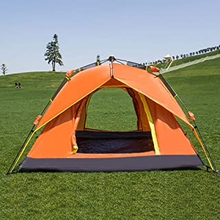 Tent for Camping for 3 to 4 Person Automatic Opening Hydraulic Double Layer Tent - Ultra Large Picnic Hiking Fishing Outdoor (Color : Orange, Size : Free Size)