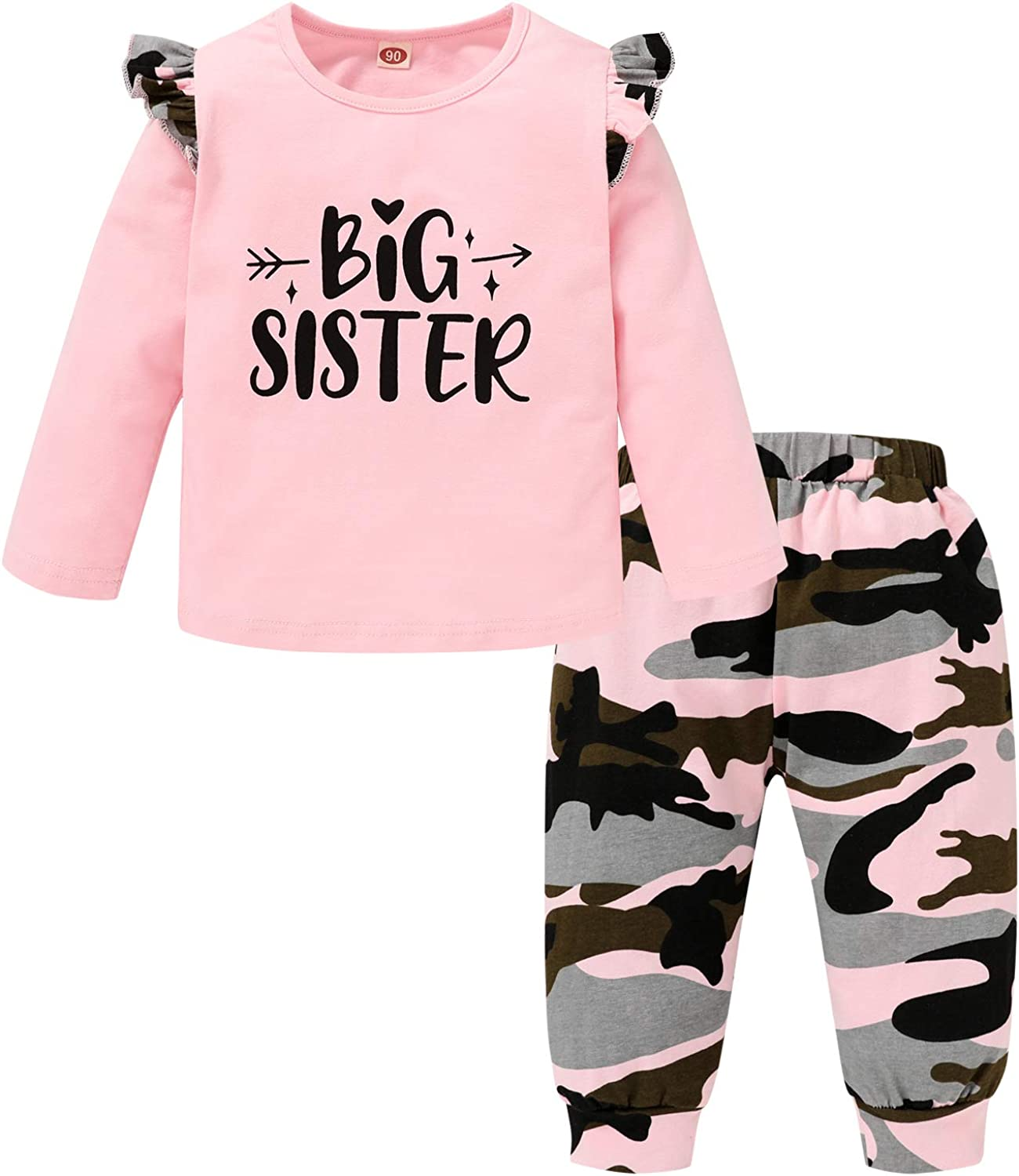 Toddler Baby Girls Fall Clothes Set Long Sleeve Romper Top + Camouflage Pants Sister Matching Outfits