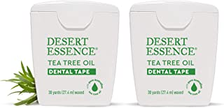 Desert Essence Tea Tree Oil Dental Tape - 30 Yards - Pack of 2 - Naturally Waxed w/Beeswax - Thick Flossing No Shred Tape ...