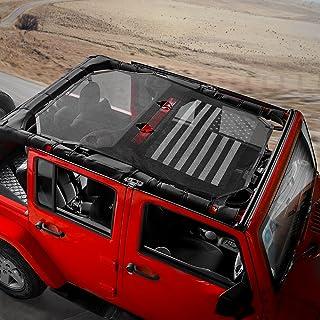 RT-TCZ Sunshade Mesh Shade Top Cover US Flag Durable Sun Shade for Jeep Wrangler 2007-2017 JK JKU 4 Door Black White US Flag