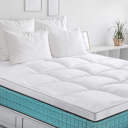 BedStory Surmatelas 160x200 x6cm, Couvre de Matelas en Microfibre 7D Hypoallergénique, Protège Matelas Respirant,Moelleux,Anti-Acarien pour Un Confort de Sommeil