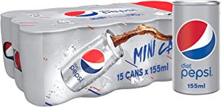 Diet Pepsi, Carbonated Soft Drink, Mini Can, 155 ml pack of 15