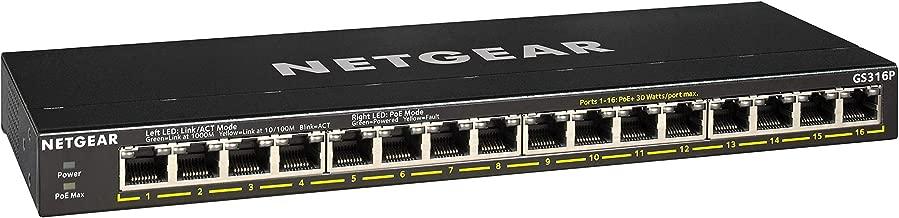 $149 » NETGEAR 16-Port Gigabit Ethernet Unmanaged PoE+ Switch (GS316P) - with 16 x PoE+ @ 115W, Desktop/Rackmount/Wallmount, Sturdy Metal