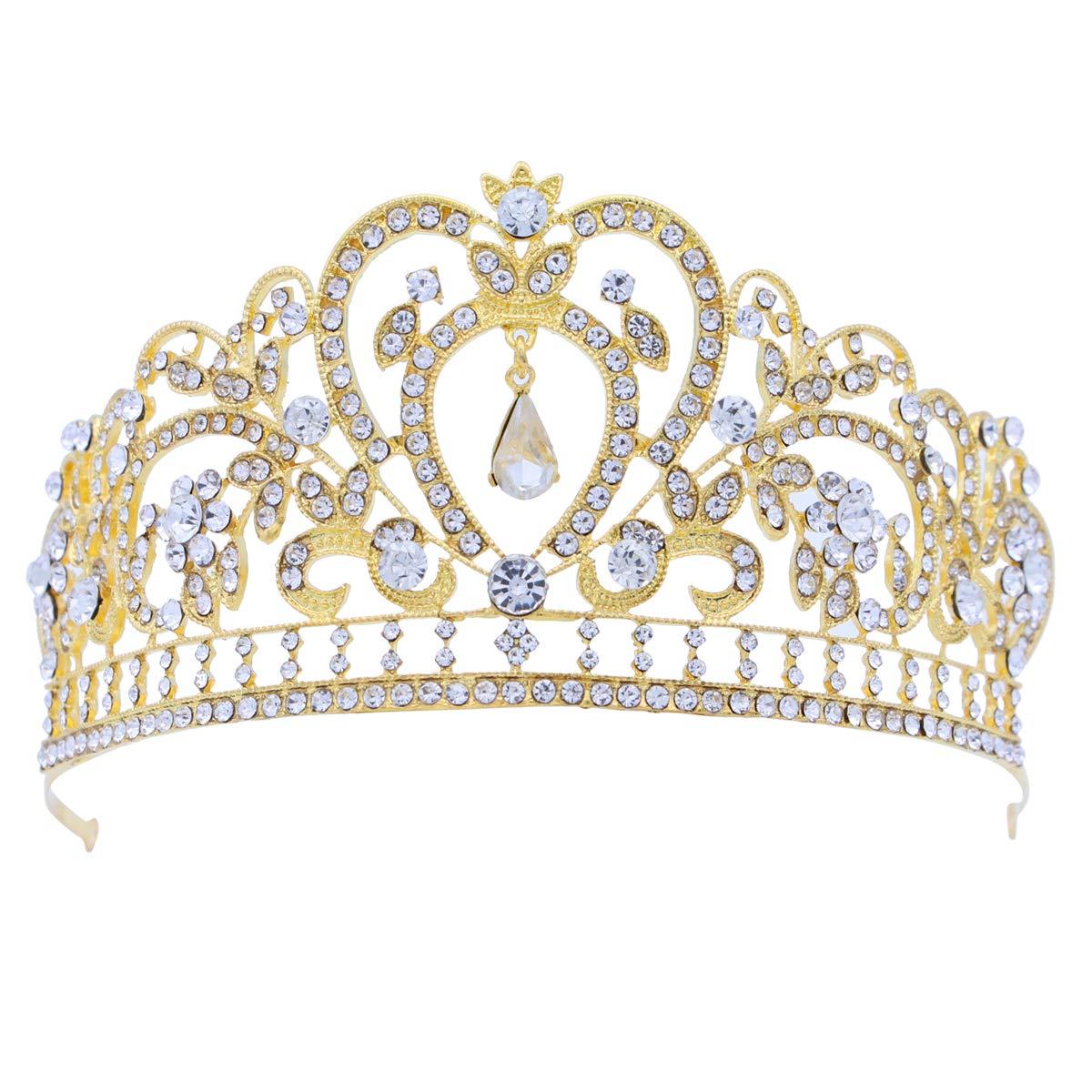 TINKSKY Wedding Rhinestone Decorated Crown/Hair Barrettes/Hairband/Hair Clip/Hair Loop (Silver)