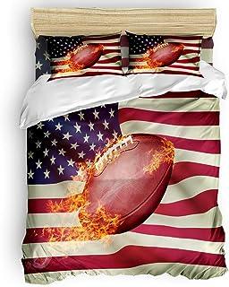 LnimioAOX Juego de Funda nórdica de 3 Piezas de fútbol Americano con Bandera Decorativa, 2 Fundas de Almohada, Colcha, Día de la Independencia