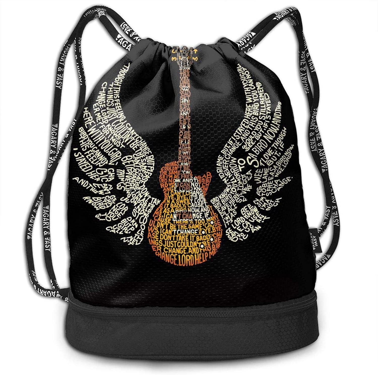 Gymsack Guitar with Lettering Wings Print Drawstring Bags  Simple Hiking Sack