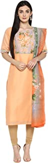 AHALYAA Women's Chanderi Straight Kurta Dupatta (Peach)