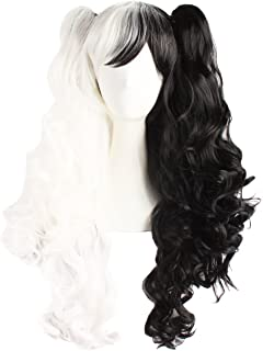 black white cosplay wig