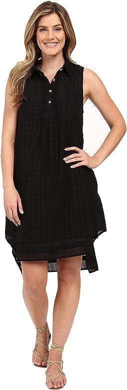 Pucker Plaid Sleeveless Shirtdress with Slip
