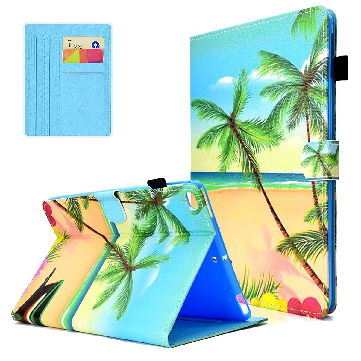 Case for New iPad 9.7 2018 2017, iPad Air 1 2,APOLL Book Style Full-Body Protective Slim Folio Stand Smart Wallet Case with Stylus Pen for Apple iPad 9.7 5th/6th Generation, iPad Air 1 2,Beach