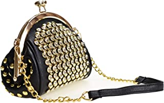 Kiss Lock Chain Crossbody Shoulder Bags with Crystal for Women, Bling PU Leather Side Purse Messenger Tote Bags for Girls