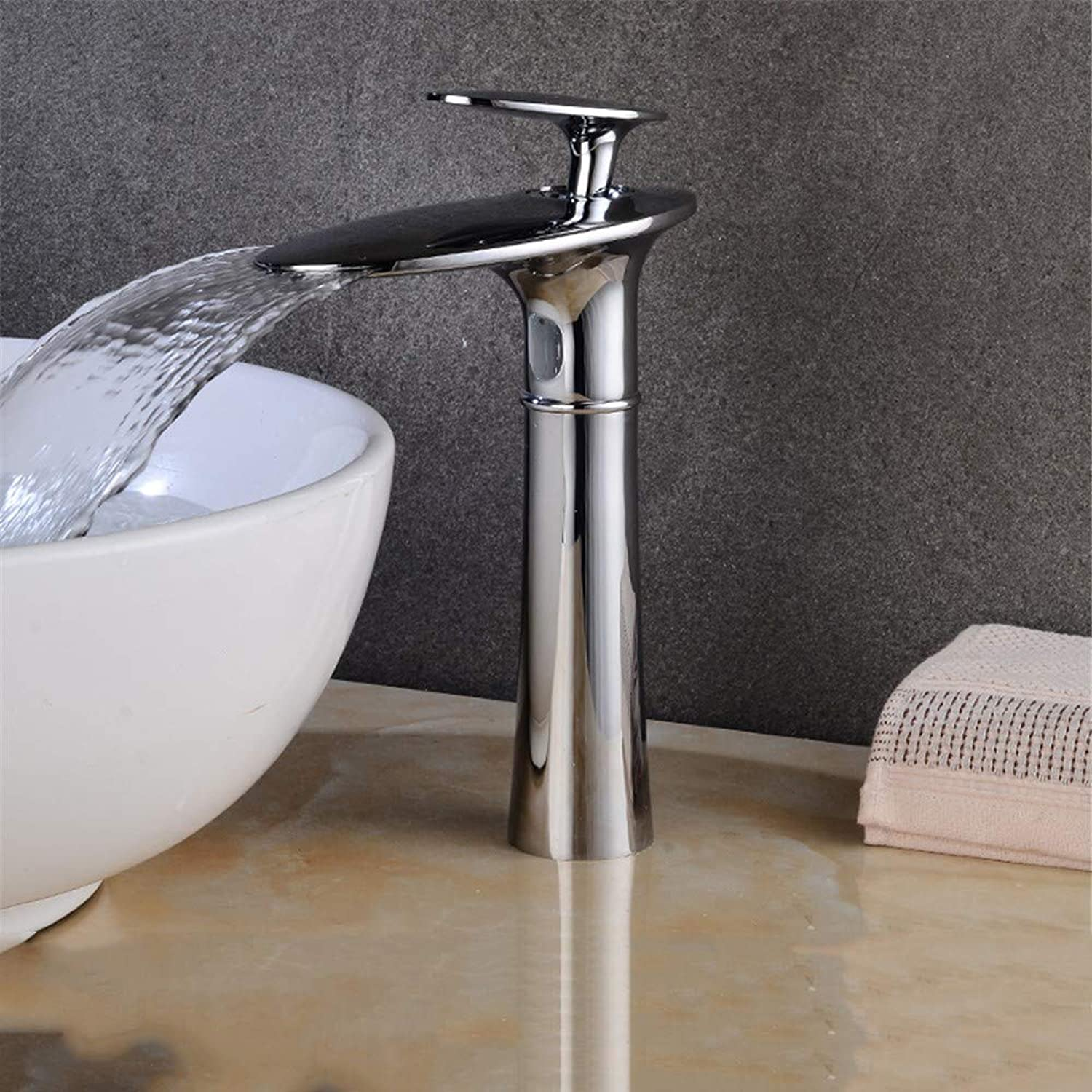 Waterfall Full Copper Basin Faucet, Table Down Basin Faucet, hot and Cold Faucet,C-High