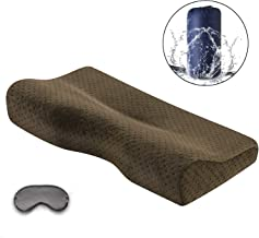 Portable Memory Foam Soft Travel Pillow Small Cervical Contour Bed Pillows for Neck Pain with Removable Washable Velvet Pillow Case,for Hotel,Business,Camping,Hiking,Backpacking,Brown Coffee