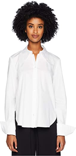 Cotton Poplin Shirt w/ Cross-Back
