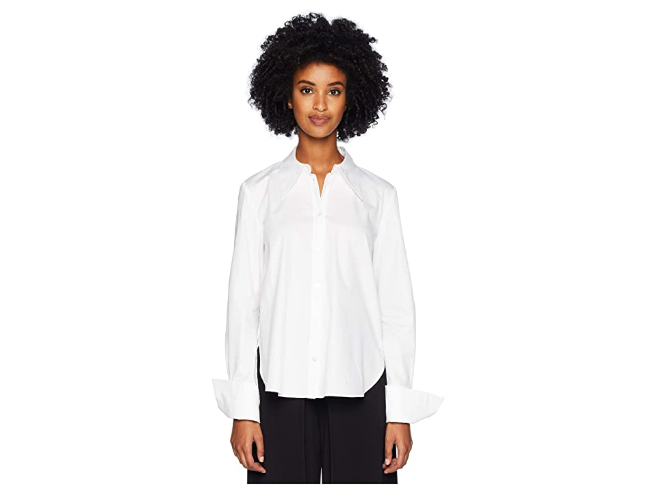 Image of Adam Lippes Cotton Poplin Shirt w/ Cross-Back (White) Women's Clothing