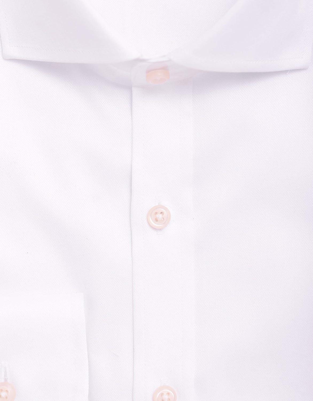 Christopher Morris Men's 100% Cotton Solid White Non-Iron Slim Fit Dress Shirt