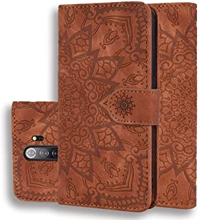 Good For Xiaomi Redmi Note 8 Pro Calf Pattern Mandala Double Folding Design Embossed Leather Case with Wallet & Holder & Card Slots(Black) FatW (Color : Brown)