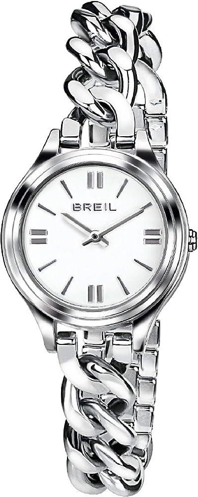 Breil - orologio da donna night out con quadrante bianco e swarovski agli indici in acciaio ip a catena TW1494