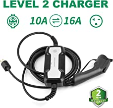 10/16A Switchable Portable EVSE Home Electric Vehicle (EV) Charger Level 2 , 25ft 110v-220V NEMA 6-20 SAE J1772 EV Charging Station for All Electric Vehicle