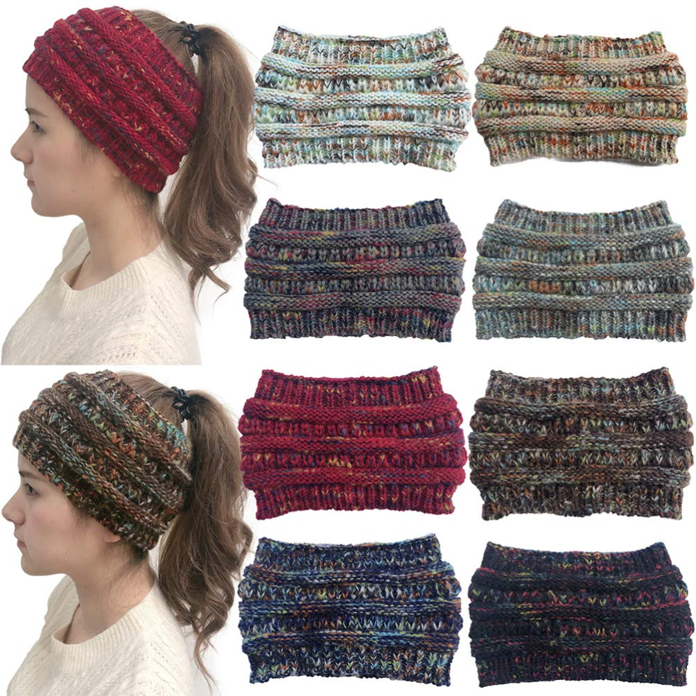 LEORX Cable Knitted Headband Winter Ear Warmers Head Wraps Wide Colorful Pointed Headband for Daily Wear and Sport (White)
