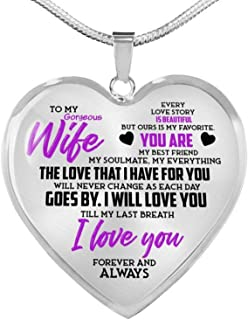 to My Gorgeous Wife My Everything from Husband Luxury Heart Shape Pendant Necklace for Her Wife Holidays Graduation Birthday Party Proposal