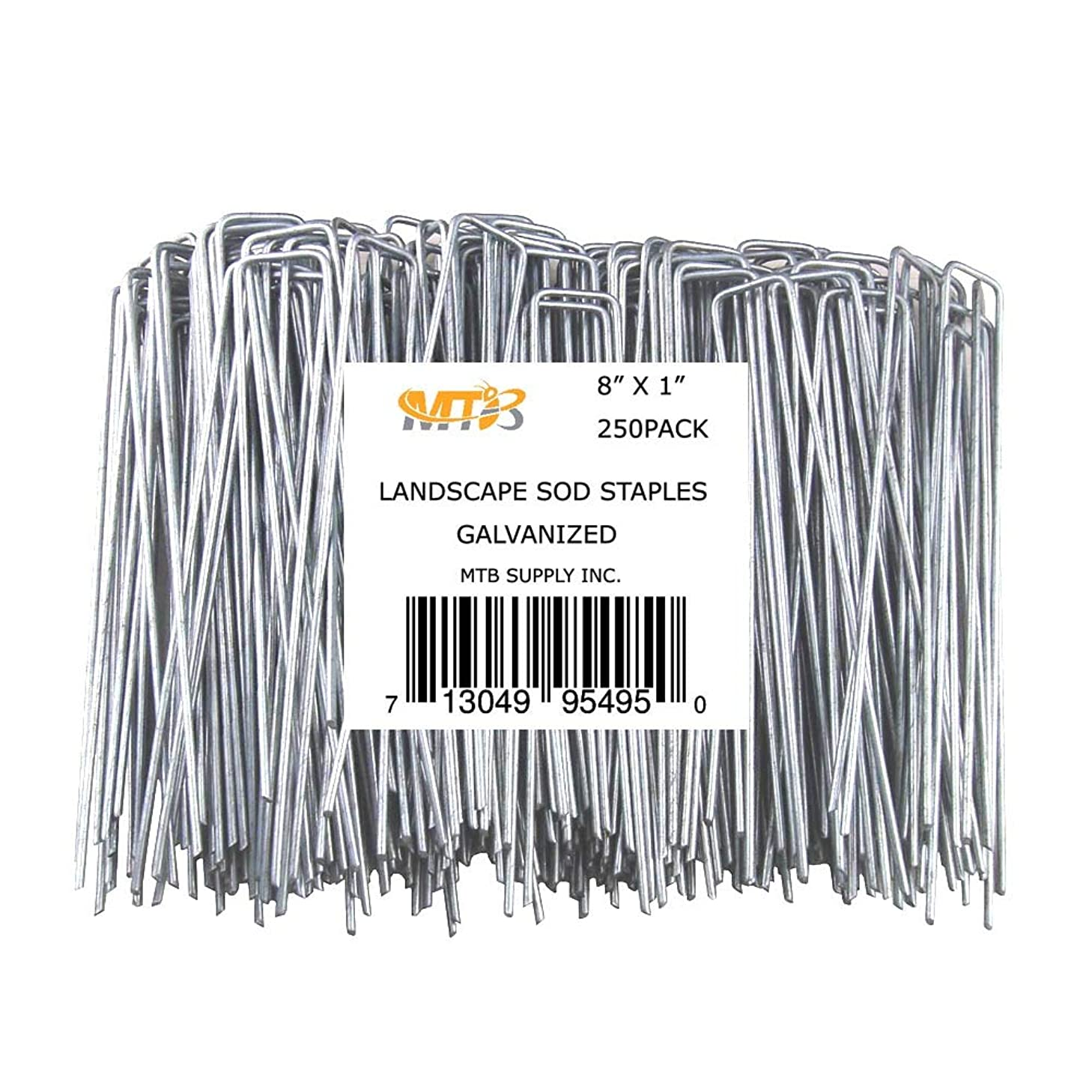 MTB 250 Pack 8x1 inch 11GA(0.12inch) Sod Staples Garden Pins Netting Stakes Ground Spikes Landscape Cover Pegs Anti-Rust Galvanized