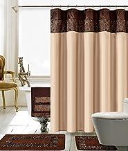 BH Home & Linen 18 Piece Floral Embroidery Banded Bath Set 1 Large Bat Mat 1 Contour Mat 12 Pc Metal Roller Ball Shower Ho...