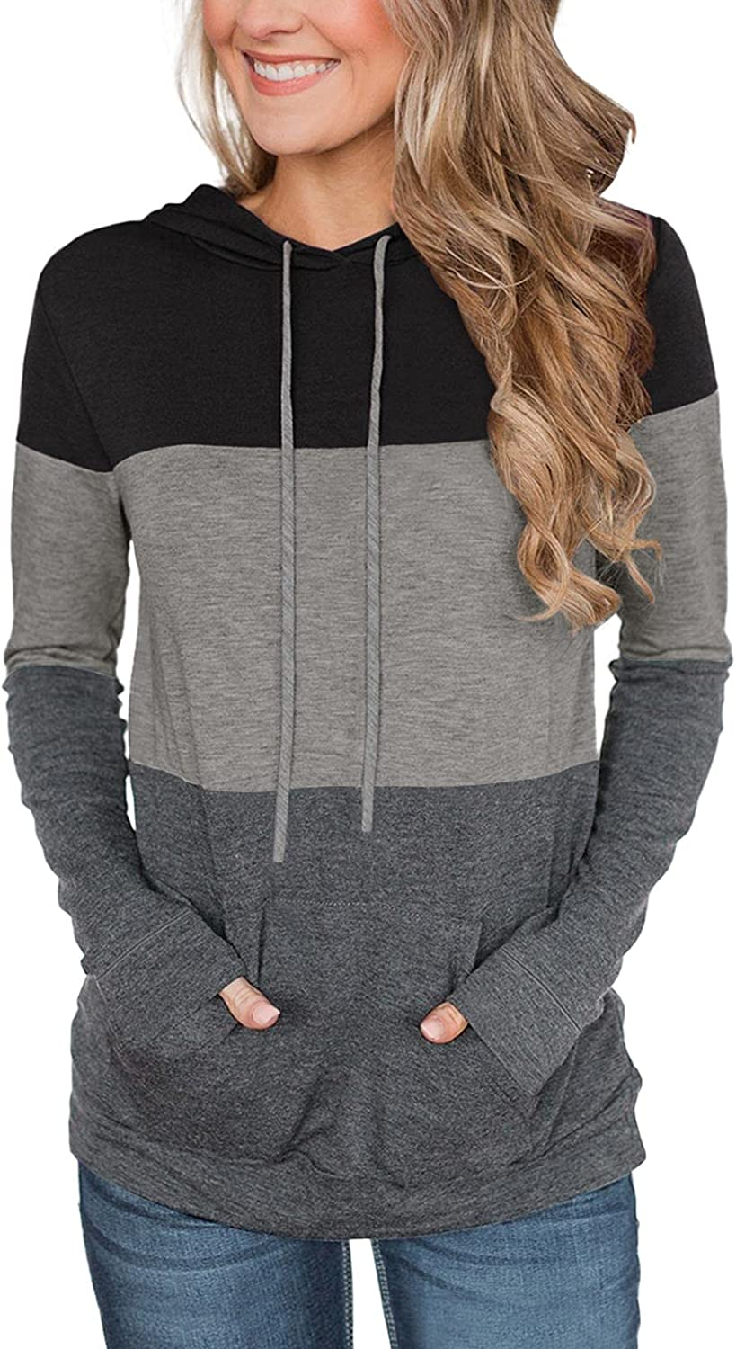 Berryou Color Block Casual Hoodies for Women Long Sleeve Drawstring Pullover Sweatshirts with Pocket Tunic Tops