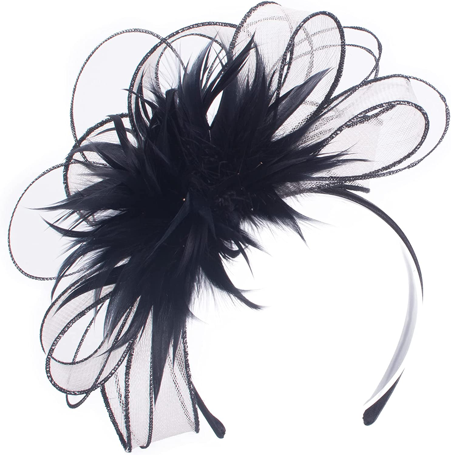 Lawliet Black with White Womens Elegant Derby Sinamay Floral Fascinator Headpiece T473