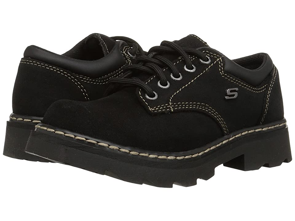SKECHERS Parties - Mate (Black Scuff Resistant Leather) Womens Lace up casual Shoes