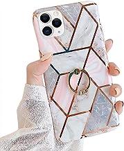 Marmer hoes voor iPhone 12 Pro Max hoes met diamantringstandaard, roze glitter marmer patroon krasbestendig telefoonhoes T...
