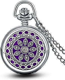 Flor Morada Esmaltado Pequeño Reloj de Bolsillo Cuarzo con Espejo Números Arábigos Plateado