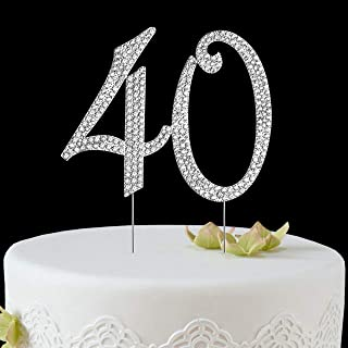 BABEYOND 40th Rhinestone Crystal Happy Birthday Decoration Cake Topper Pick for Birthday Party Supplies (Style2-40th-Silver)