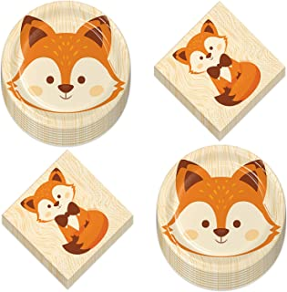 Fox Party Supplies - Woodland Animal Fox Face Paper Dessert Plates and Luncheon Napkins (Serves 16)