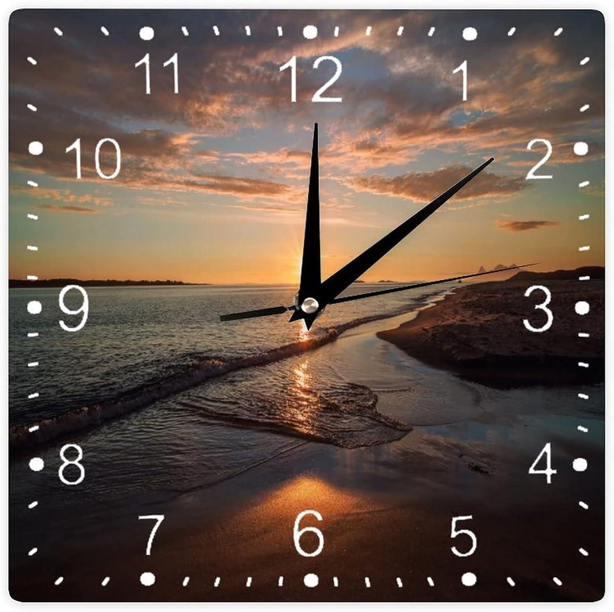 VinMea Square New product PVC Walk Clock Sunrise Art Ticking Memphis Mall Non Decor