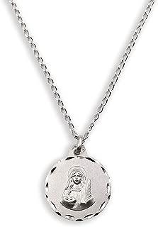 Medalla Religiosa - Santa Lucía 21 mm con Cadena Bilbao 40 cm. Plata de Ley 925 milésimas