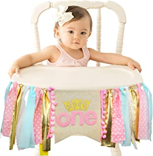 Ecore Fun First Birthday Party Decoration Supplies High Chair Banner for Girl - Pink Princess Theme