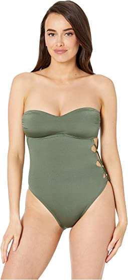 Solid Attitude Side Looped Bandeau Mio One-Piece