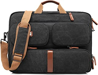 CoolBELL Convertible Laptop Bag Backpack Messenger Bag Shoulder Bag Business Briefcase Multi-Functional Travel Rucksack 17.3 Inches Laptop Case for Men/Women (Canvas Black)