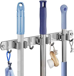 Soporte de escoba soporte de pared para armario de escoba para cocina balcón garaje 3 clips y 4 ganchos sin taladrar (gris)