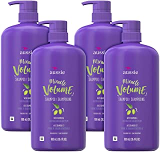 Aussie For Fine Hair Paraben-free Miracle Volume Shampoo With Plum & Bamboo, (Pack of 4)
