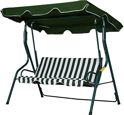 Outsunny 3 Seater Canopy Swing Outdoor Garden Bench - Best Garden Swings for Adults