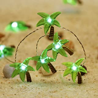 Impress Life Christmas Beach Themed String Lights, Tropical Coconut Palm Tree Lighting Silver Wire 10ft 40 LED with Remote for Bedroom, Porch, Wreathe, Garden, Wedding Party House DIY Decorations