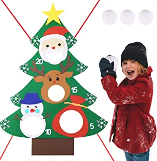 Max Fun Christmas Tree Bean Bag Toss Games with 3 Snowballs for Kids Party Favor (Christmas Toss Game)