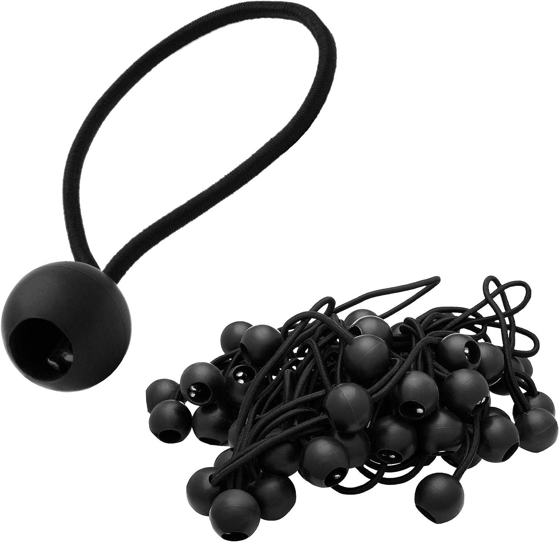 ECENCE 50x tensores de Goma, Set de tensores para Lonas, eslingas tensoras con Bola de plástico, Gomas para Lonas de Carpas, pabellones, Tiendas, Gran ...