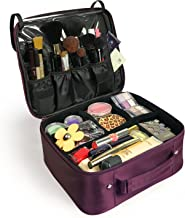 Becko Professional Cosmetic Bag Portable Travel Makeup Bag Organizer Case Box with Adjustable Divider for Artist, Actor, Model on Fashion Show, Stage (Purple)