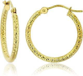 TGDJ 14K Yellow Gold Full Diamond Cut Half Dome Hoop Earrings Diameter -15 mm