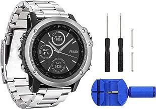 Digit.Tail 26mm Stainless Steel Band Universal Replacement Watch Strap with Accessories for Garmin Fenix 2 / Fenix 3 HR/Fenix 3 Sapphire, Fenix 5X Smartwatch (Silver)