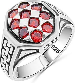 خاتم رجالي فاخر من الفضة الإسترلينية عيار 925 مرصع بحجر الياقوت الأحمر